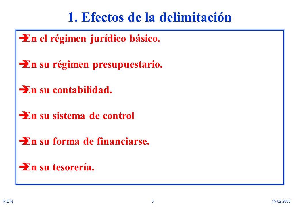R.B.N615-02-2003 1. Efectos de la delimitación èEn el régimen jurídico básico. èEn su régimen presupuestario. èEn su contabilidad. èEn su sistema de c