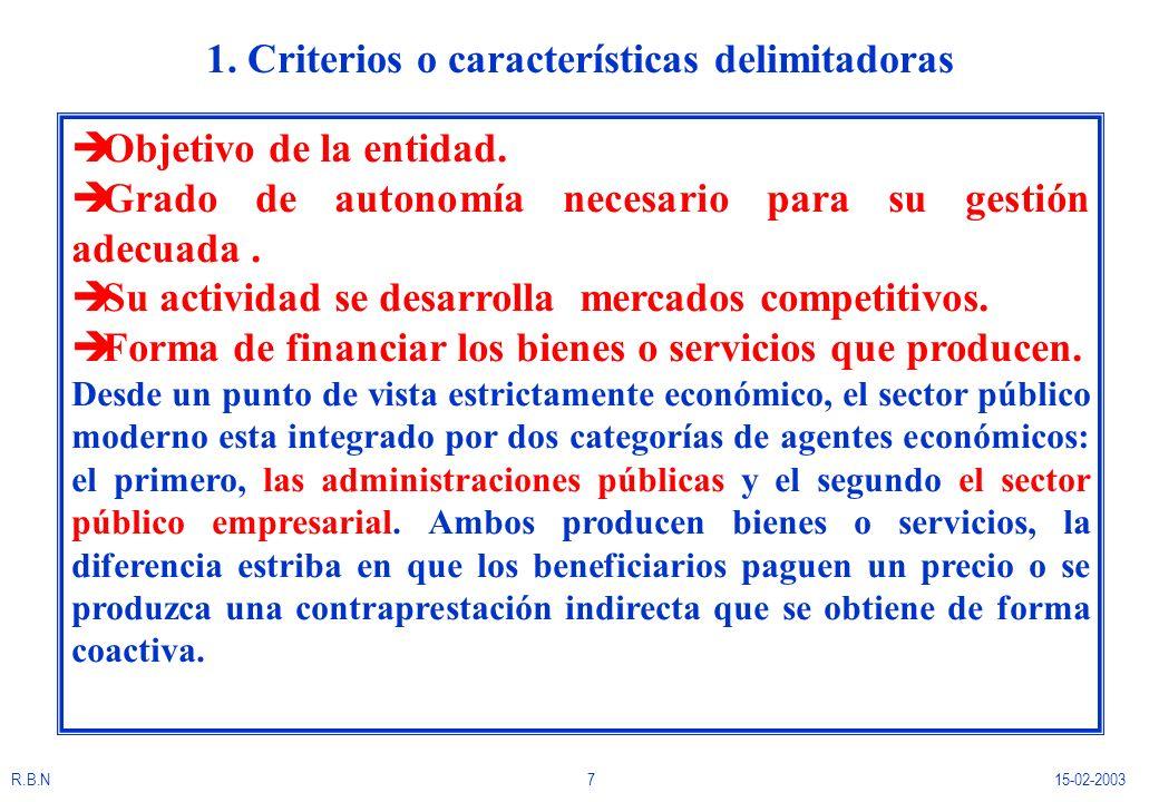 R.B.N715-02-2003 1. Criterios o características delimitadoras è Objetivo de la entidad. è Grado de autonomía necesario para su gestión adecuada. è Su
