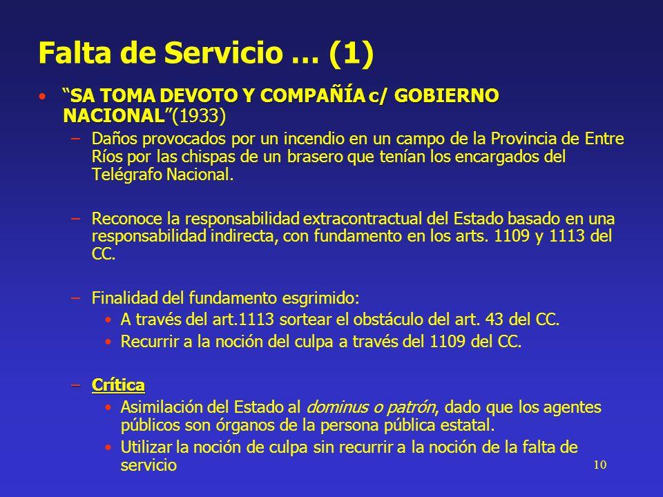 10 Falta de Servicio … (1) SA TOMA DEVOTO Y COMPAÑÍA c/ GOBIERNO NACIONALSA TOMA DEVOTO Y COMPAÑÍA c/ GOBIERNO NACIONAL(1933) –Daños provocados por un