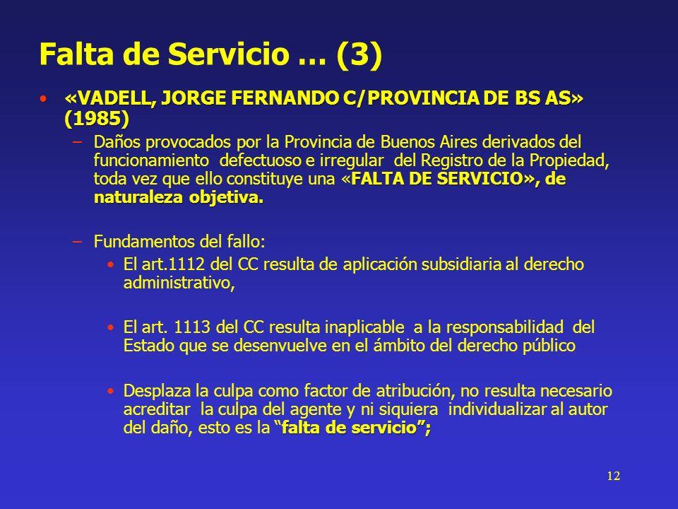12 Falta de Servicio … (3) «VADELL, JORGE FERNANDO C/PROVINCIA DE BS AS» (1985)«VADELL, JORGE FERNANDO C/PROVINCIA DE BS AS» (1985) FALTA DE SERVICIO»