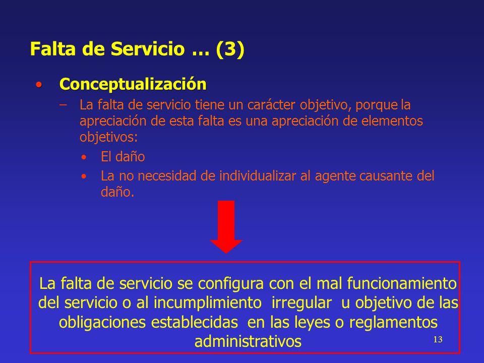 13 Falta de Servicio … (3) ConceptualizaciónConceptualización –La falta de servicio tiene un carácter objetivo, porque la apreciación de esta falta es