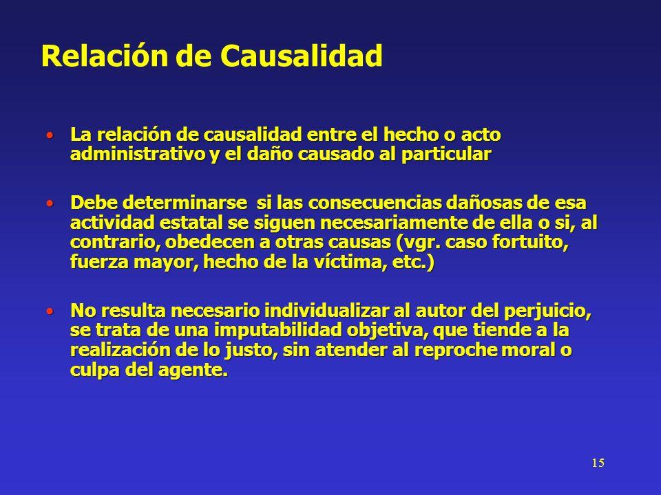15 Relación de Causalidad La relación de causalidad entre el hecho o acto administrativo y el daño causado al particularLa relación de causalidad entr