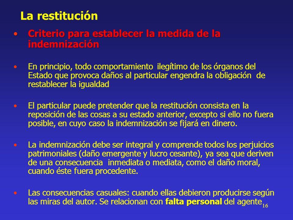 16 La restitución Criterio para establecer la medida de la indemnizaciónCriterio para establecer la medida de la indemnización En principio, todo comp