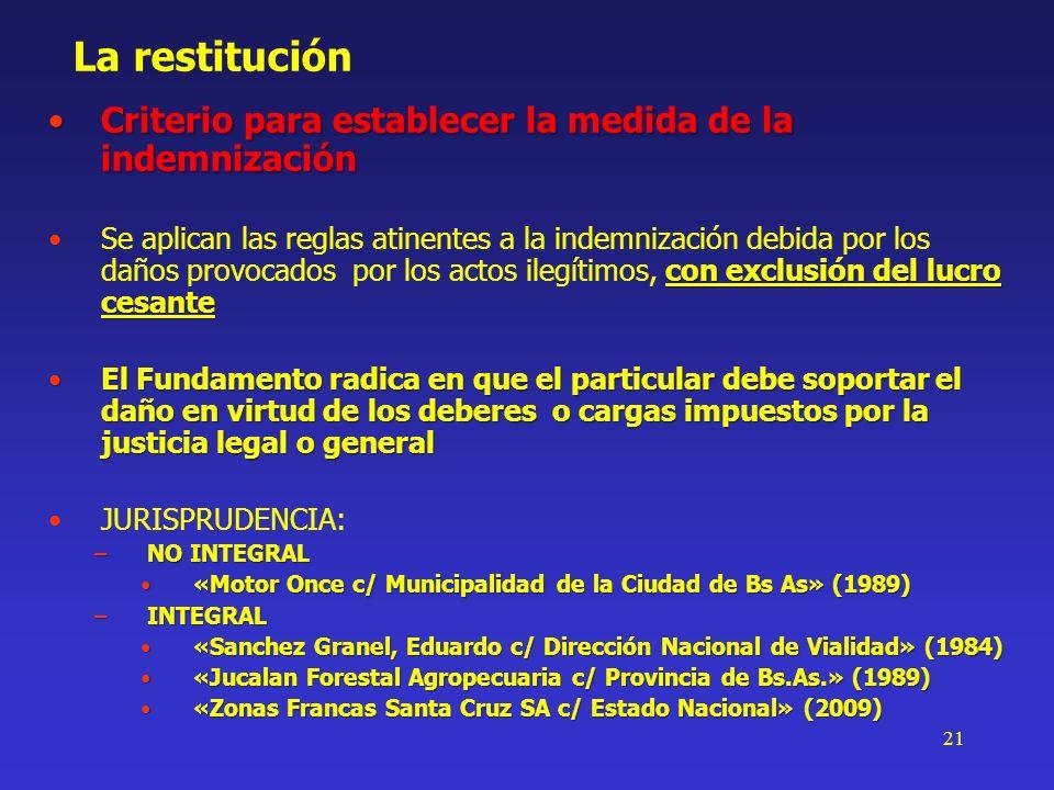 21 La restitución Criterio para establecer la medida de la indemnizaciónCriterio para establecer la medida de la indemnización con exclusión del lucro