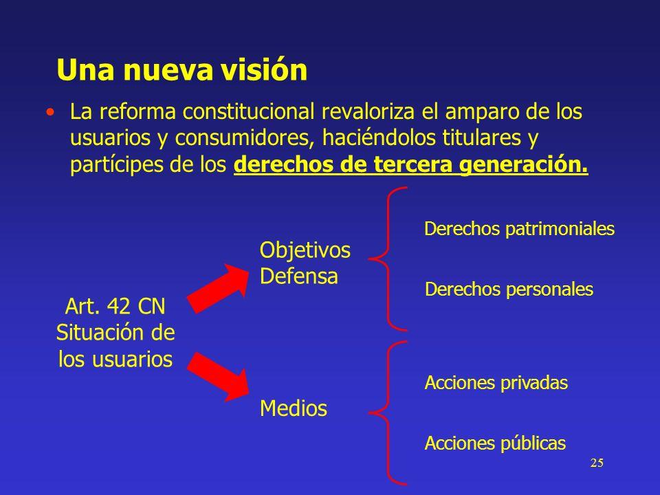 25 Una nueva visión La reforma constitucional revaloriza el amparo de los usuarios y consumidores, haciéndolos titulares y partícipes de los derechos