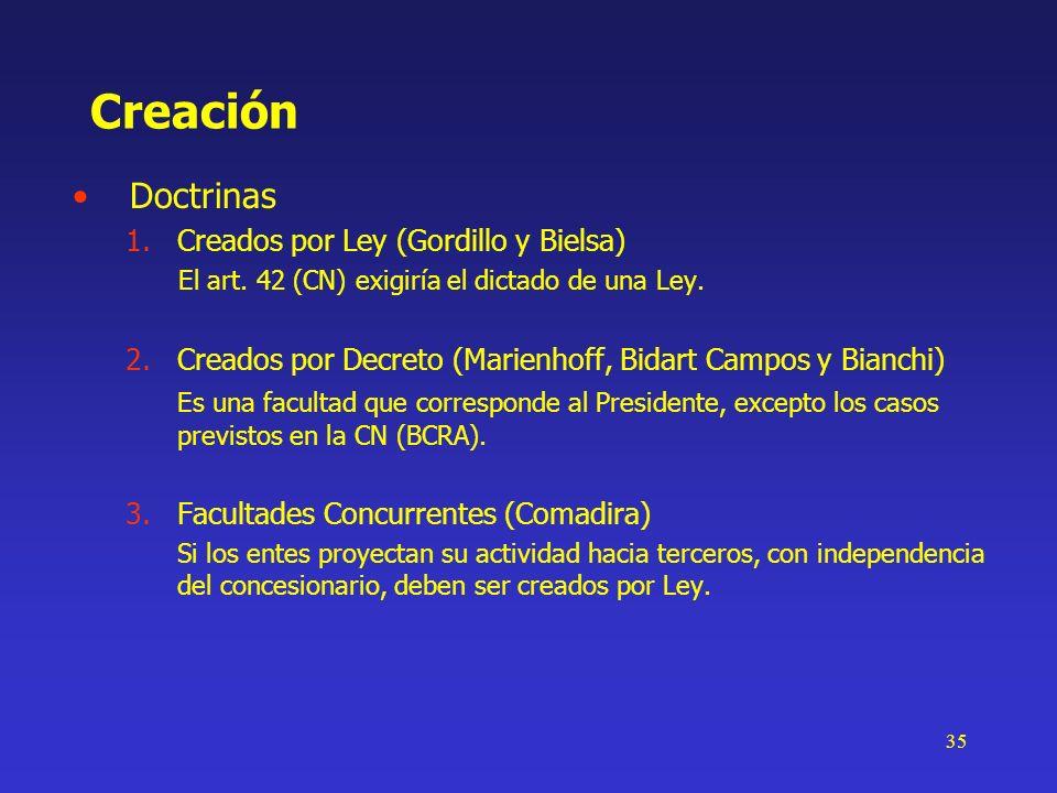 35 Creación Doctrinas 1.Creados por Ley (Gordillo y Bielsa) El art. 42 (CN) exigiría el dictado de una Ley. 2.Creados por Decreto (Marienhoff, Bidart