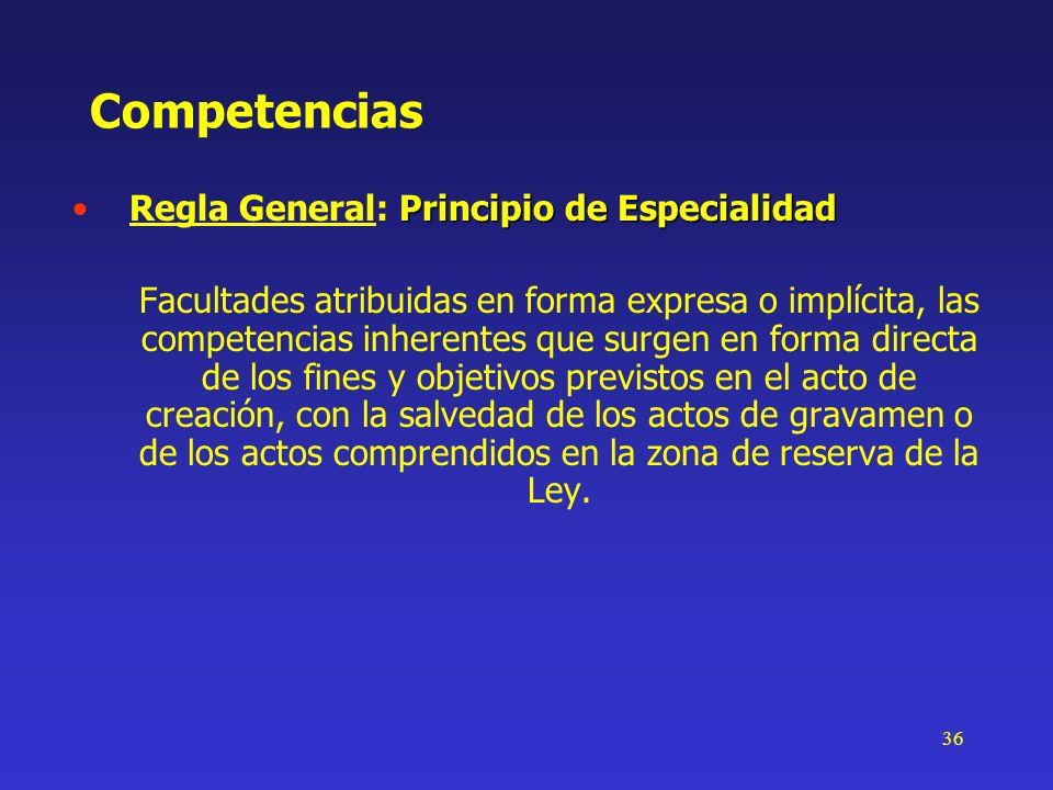 36 Competencias Principio de EspecialidadRegla General: Principio de Especialidad Facultades atribuidas en forma expresa o implícita, las competencias