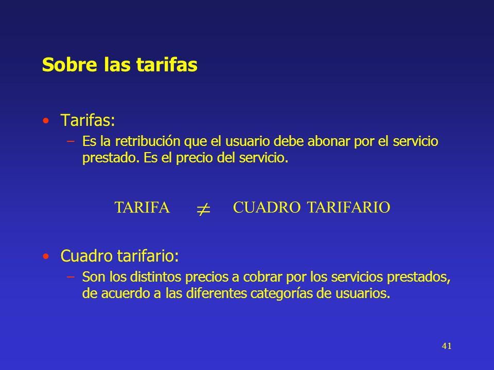 41 Sobre las tarifas Tarifas: –Es la retribución que el usuario debe abonar por el servicio prestado. Es el precio del servicio. TARIFA CUADRO TARIFAR