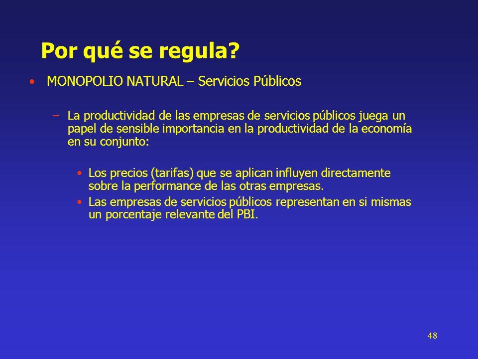 48 Por qué se regula? MONOPOLIO NATURAL – Servicios Públicos –La productividad de las empresas de servicios públicos juega un papel de sensible import