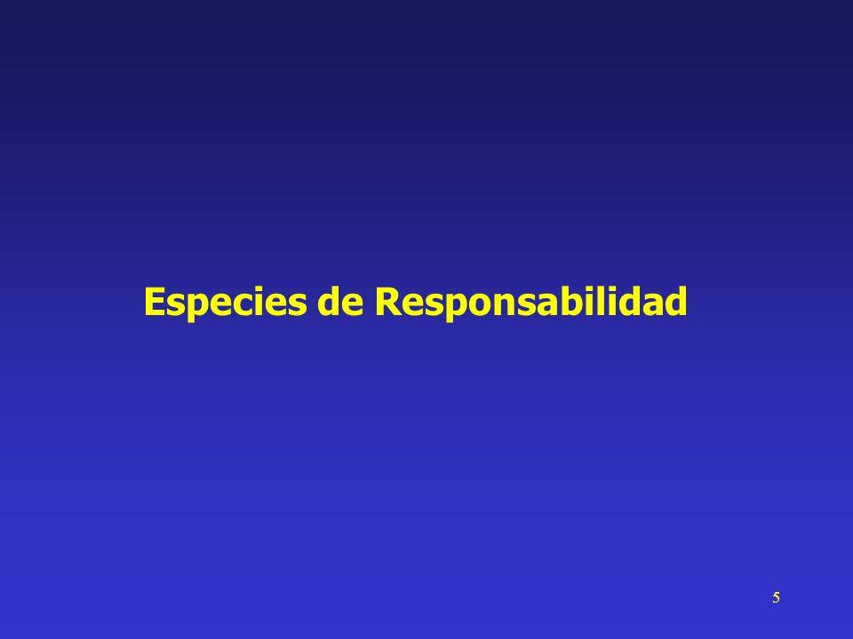 6 Especies de Responsabilidad de Estado Responsabilidad Patrimonial del Estado Derecho Administrativo Actuación del Estado en el campo del derecho privado Se basa en la noción de culpa (art.