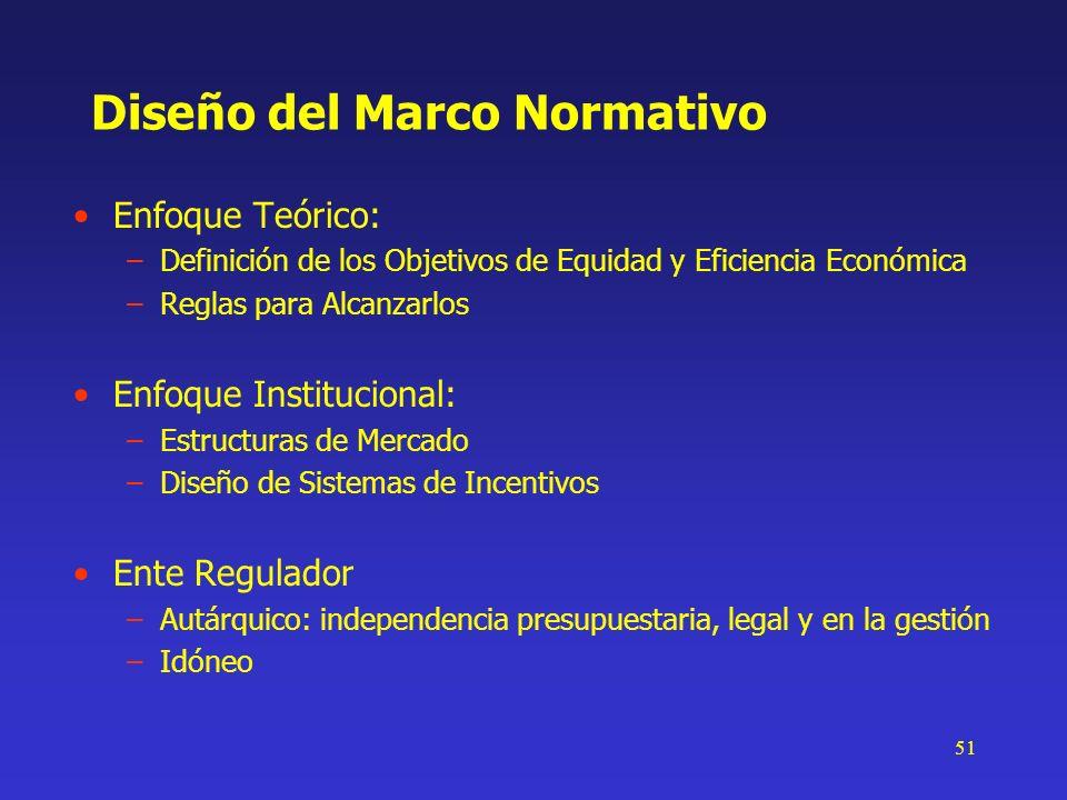 51 Diseño del Marco Normativo Enfoque Teórico: –Definición de los Objetivos de Equidad y Eficiencia Económica –Reglas para Alcanzarlos Enfoque Institu