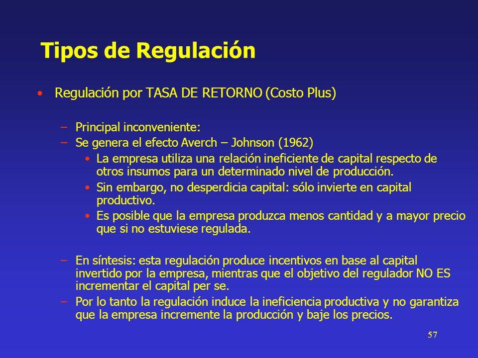 57 Tipos de Regulación Regulación por TASA DE RETORNO (Costo Plus) –Principal inconveniente: –Se genera el efecto Averch – Johnson (1962) La empresa u