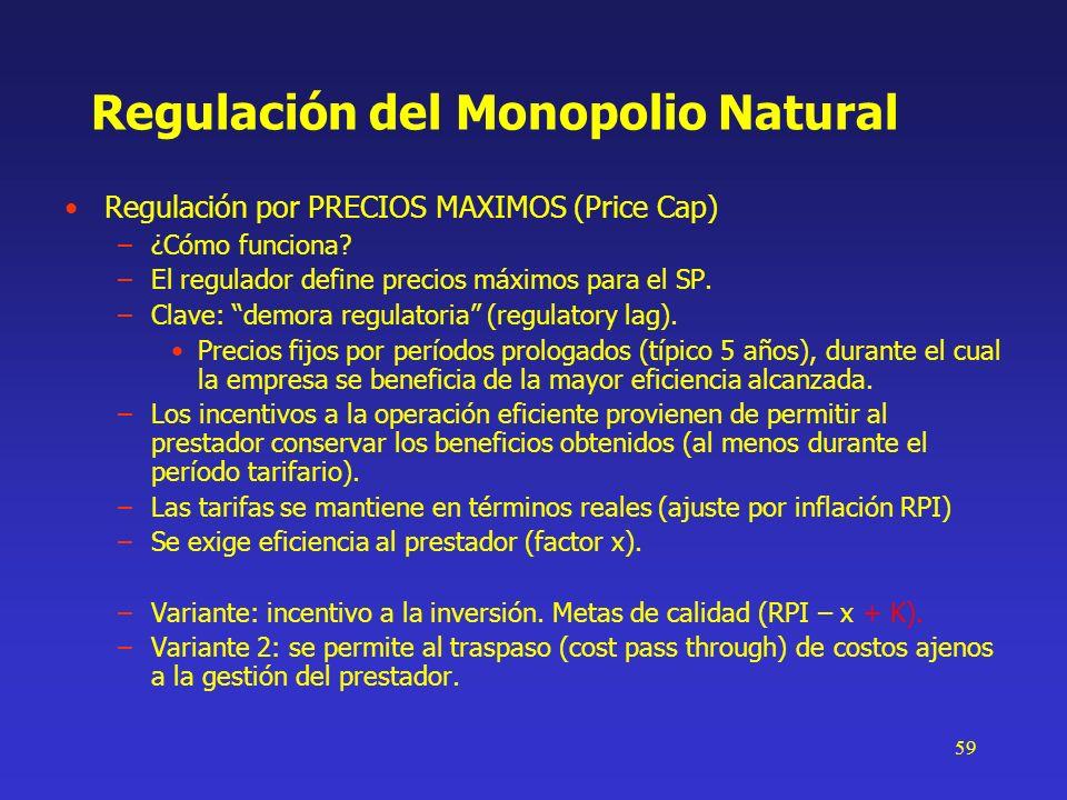 59 Regulación del Monopolio Natural Regulación por PRECIOS MAXIMOS (Price Cap) –¿Cómo funciona? –El regulador define precios máximos para el SP. –Clav
