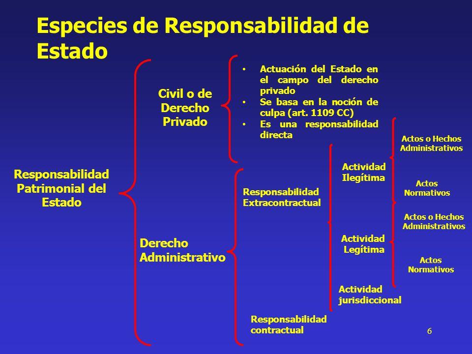 6 Especies de Responsabilidad de Estado Responsabilidad Patrimonial del Estado Derecho Administrativo Actuación del Estado en el campo del derecho pri