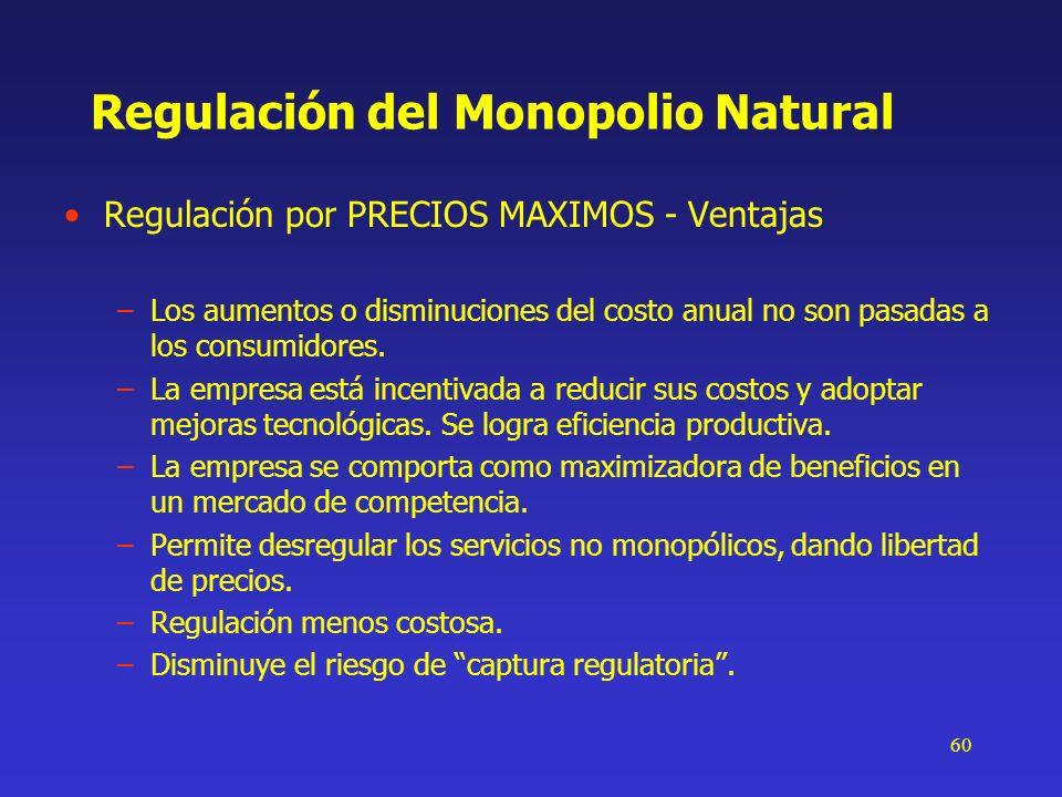 60 Regulación del Monopolio Natural Regulación por PRECIOS MAXIMOS - Ventajas –Los aumentos o disminuciones del costo anual no son pasadas a los consu