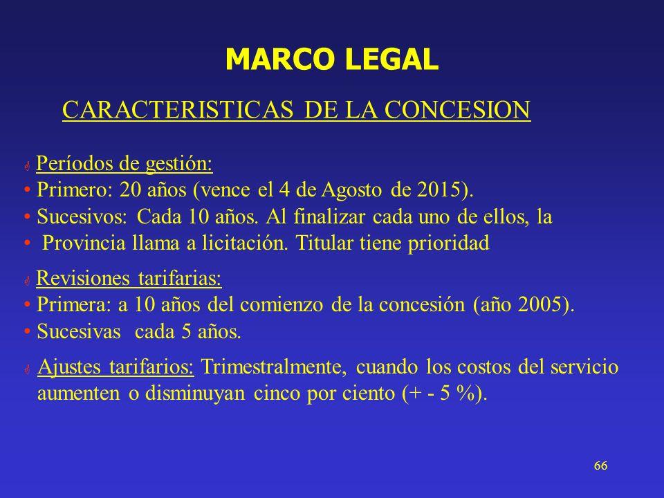 66 MARCO LEGAL CARACTERISTICAS DE LA CONCESION G Períodos de gestión: Primero: 20 años (vence el 4 de Agosto de 2015). Sucesivos: Cada 10 años. Al fin