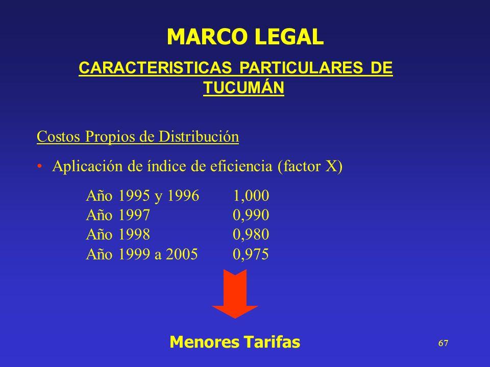 67 CARACTERISTICAS PARTICULARES DE TUCUMÁN Costos Propios de Distribución Aplicación de índice de eficiencia (factor X) Año 1995 y 19961,000 Año 19970