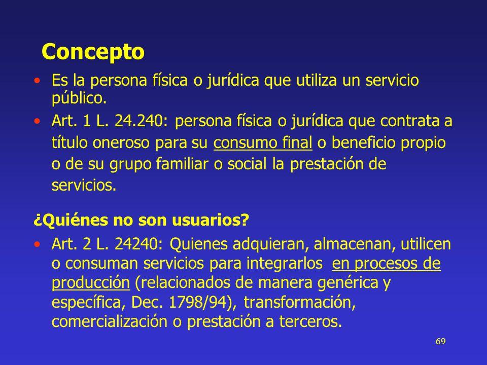 69 Concepto Es la persona física o jurídica que utiliza un servicio público. Art. 1 L. 24.240: persona física o jurídica que contrata a título oneroso