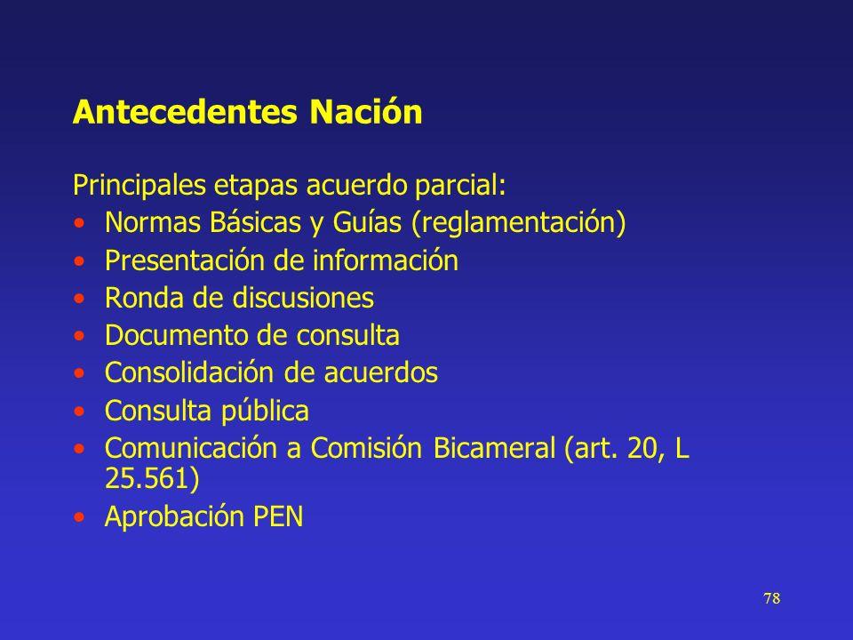 78 Antecedentes Nación Principales etapas acuerdo parcial: Normas Básicas y Guías (reglamentación) Presentación de información Ronda de discusiones Do