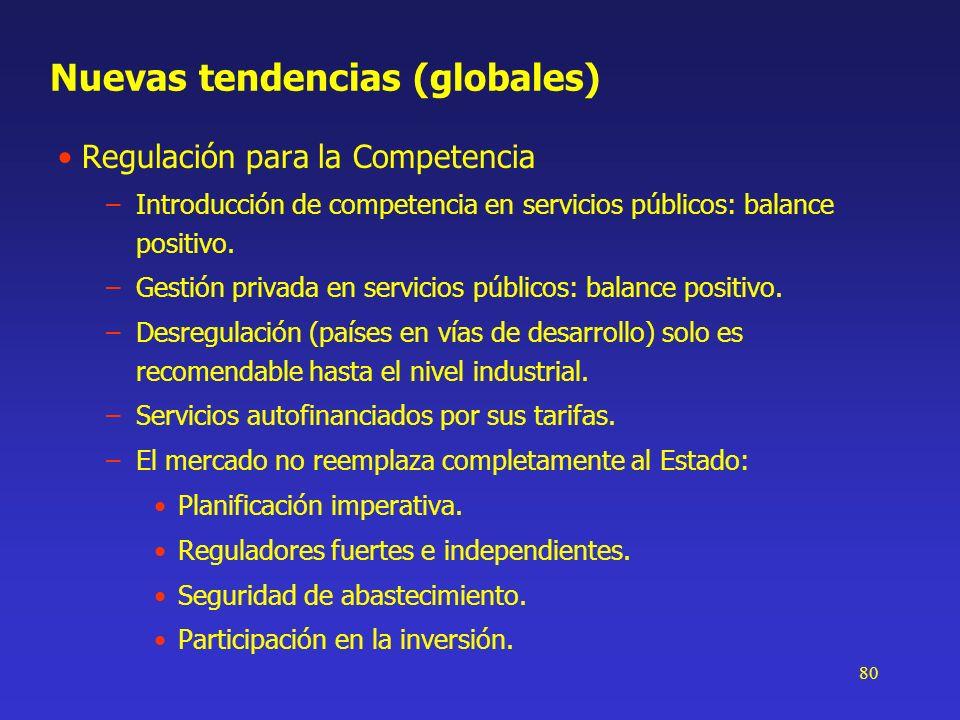 80 Nuevas tendencias (globales) Regulación para la Competencia –Introducción de competencia en servicios públicos: balance positivo. –Gestión privada