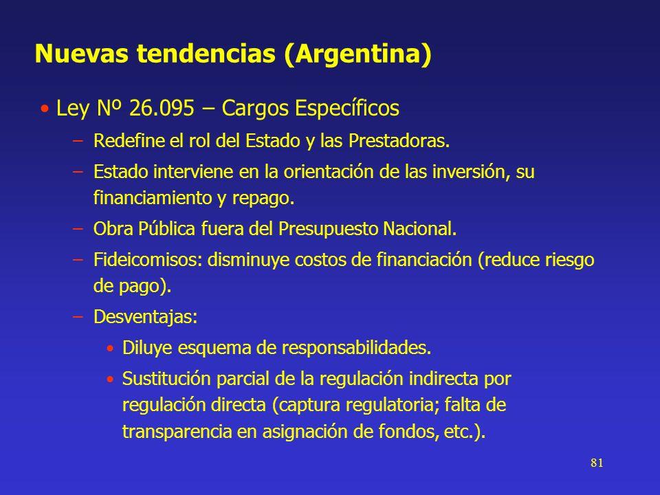 81 Nuevas tendencias (Argentina) Ley Nº 26.095 – Cargos Específicos –Redefine el rol del Estado y las Prestadoras. –Estado interviene en la orientació