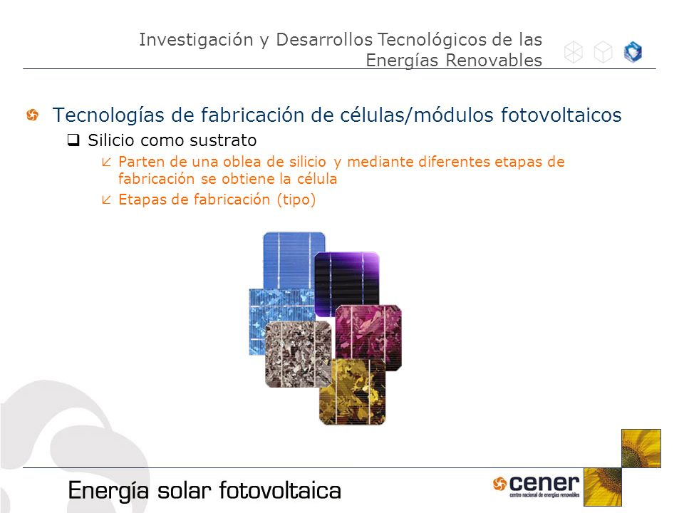 Tecnologías de fabricación de células/módulos fotovoltaicos Silicio como sustrato Parten de una oblea de silicio y mediante diferentes etapas de fabri