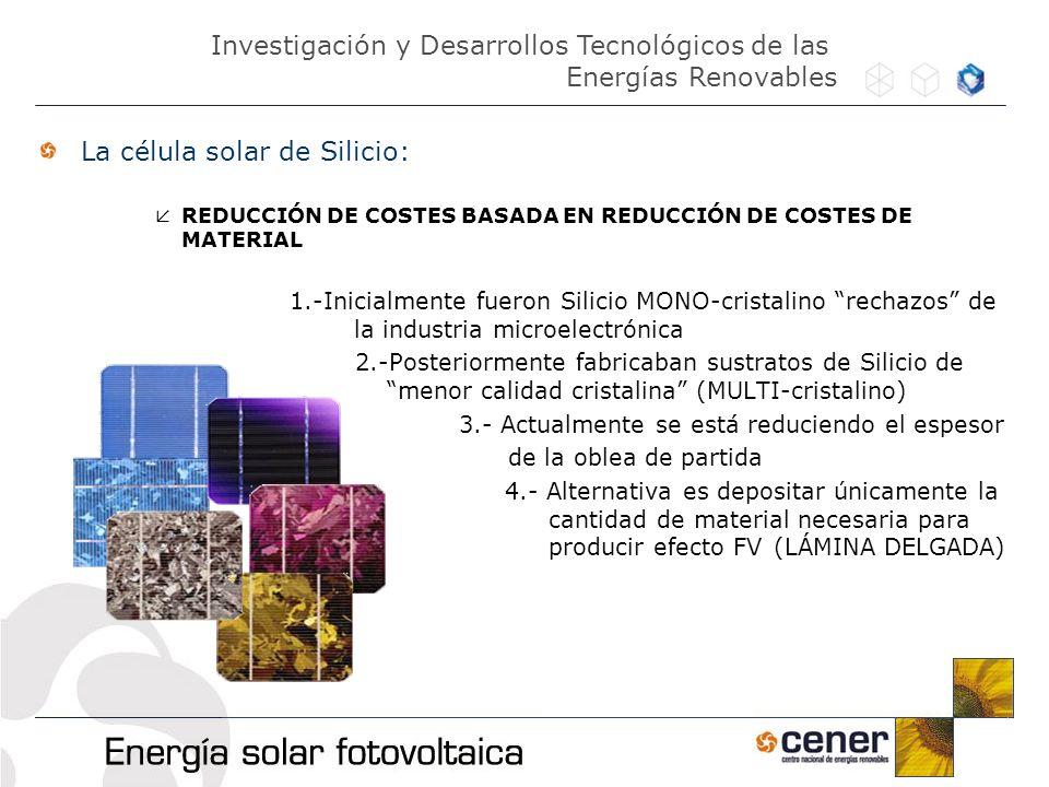 La célula solar de Silicio: REDUCCIÓN DE COSTES BASADA EN REDUCCIÓN DE COSTES DE MATERIAL 1.-Inicialmente fueron Silicio MONO-cristalino rechazos de l