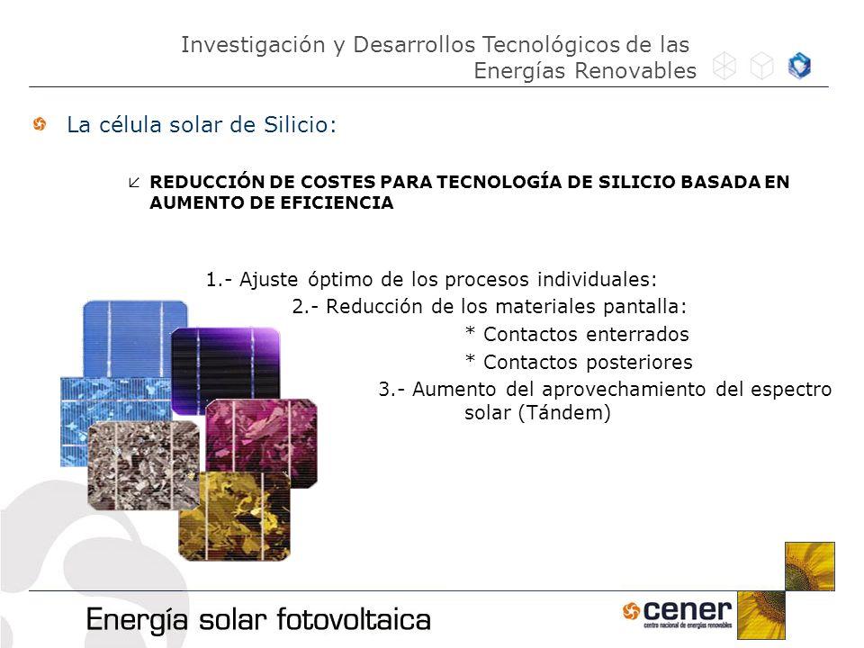 La célula solar de Silicio: REDUCCIÓN DE COSTES PARA TECNOLOGÍA DE SILICIO BASADA EN AUMENTO DE EFICIENCIA 1.- Ajuste óptimo de los procesos individua