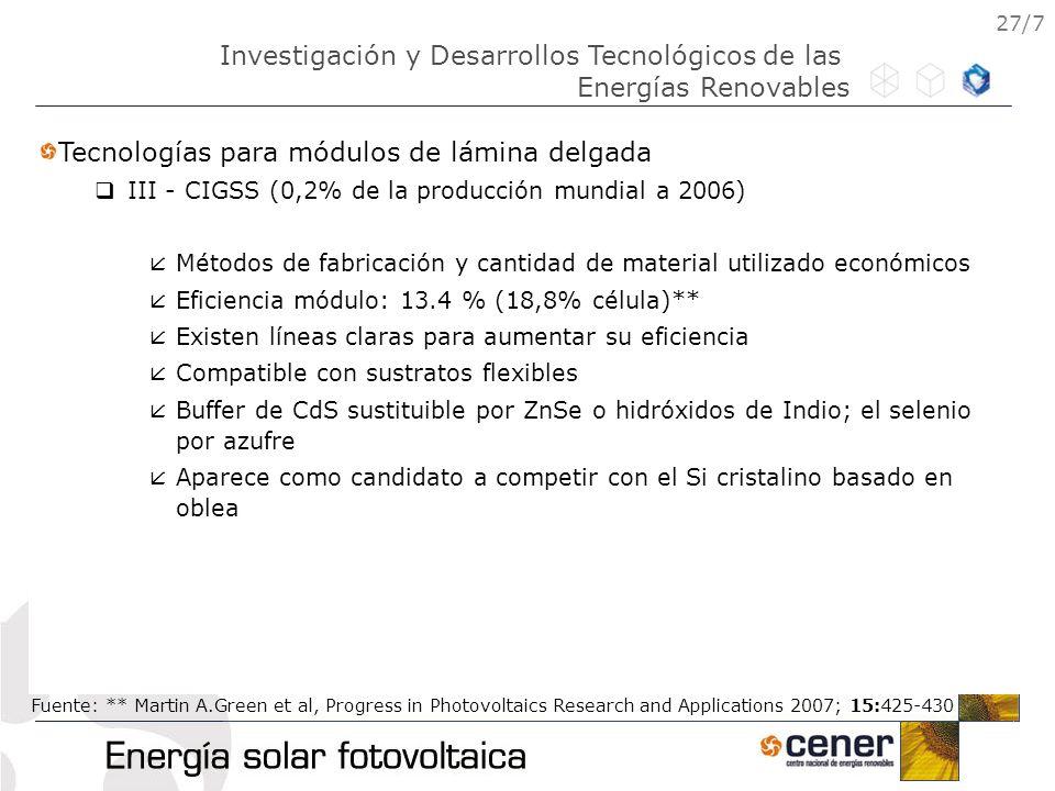 27/7 Tecnologías para módulos de lámina delgada III - CIGSS (0,2% de la producción mundial a 2006) Métodos de fabricación y cantidad de material utili