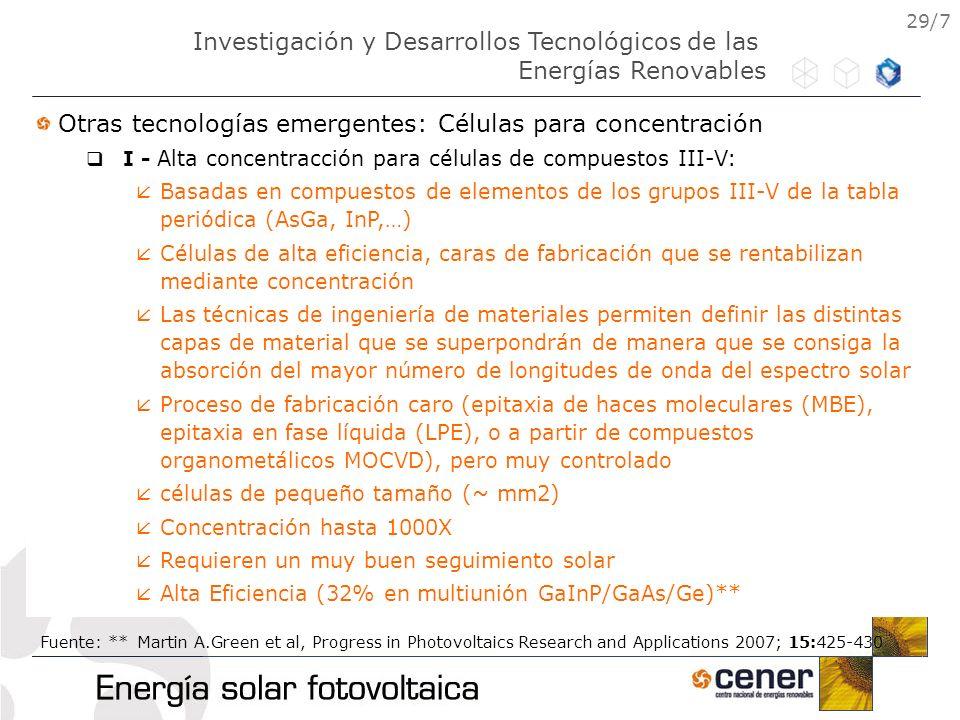 29/7 Otras tecnologías emergentes: Células para concentración I - Alta concentracción para células de compuestos III-V: Basadas en compuestos de eleme