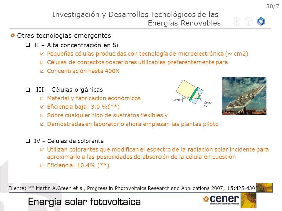 30/7 Otras tecnologías emergentes II – Alta concentración en Si Pequeñas células producidas con tecnología de microelectrónica (~ cm2) Células de cont