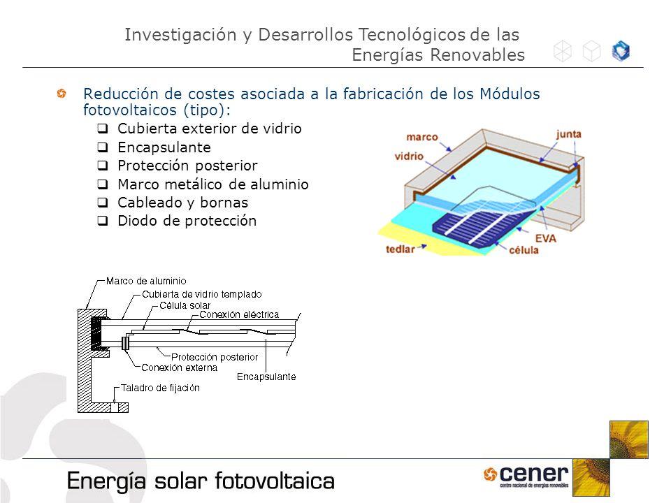 Reducción de costes asociada a la fabricación de los Módulos fotovoltaicos (tipo): Cubierta exterior de vidrio Encapsulante Protección posterior Marco