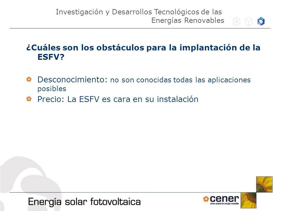 ¿Cuáles son los obstáculos para la implantación de la ESFV? Desconocimiento: no son conocidas todas las aplicaciones posibles Precio: La ESFV es cara
