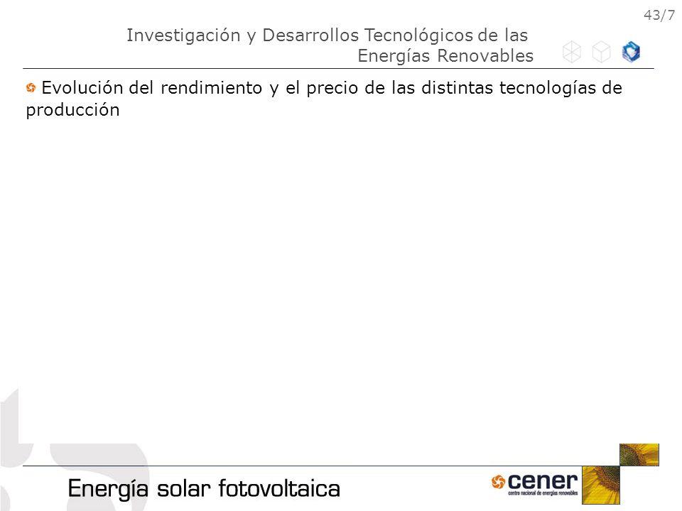 43/7 Evolución del rendimiento y el precio de las distintas tecnologías de producción Investigación y Desarrollos Tecnológicos de las Energías Renovab
