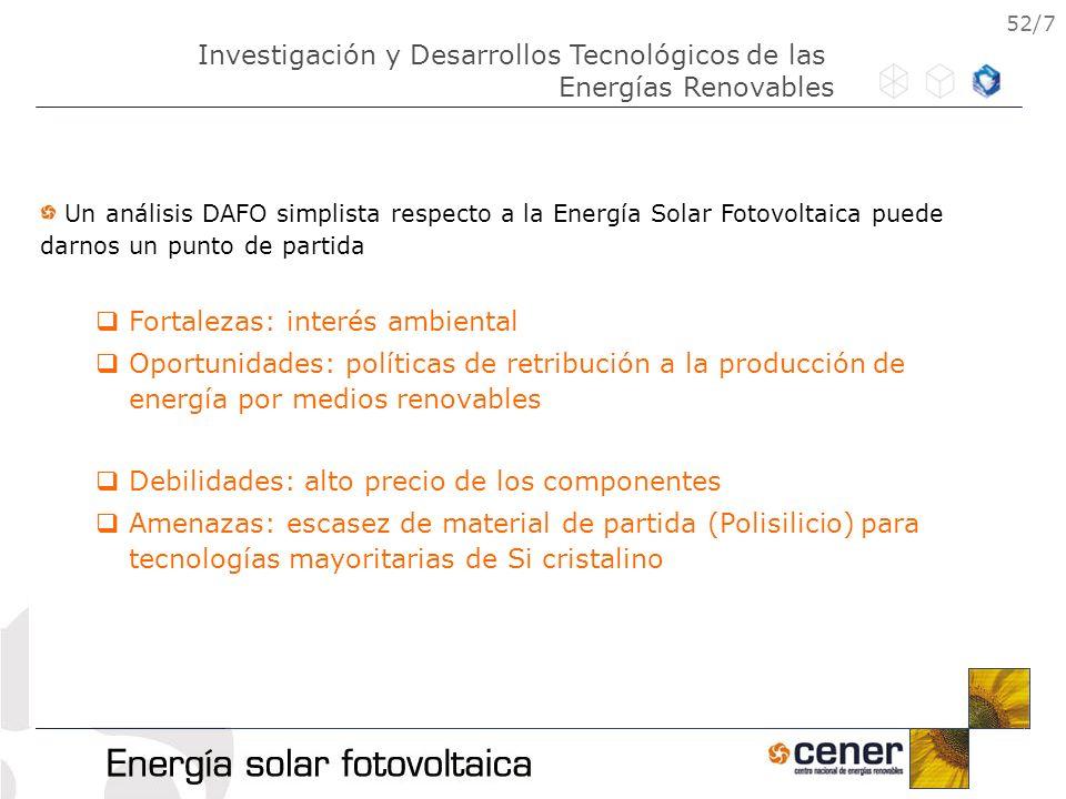 52/7 Un análisis DAFO simplista respecto a la Energía Solar Fotovoltaica puede darnos un punto de partida Fortalezas: interés ambiental Oportunidades: