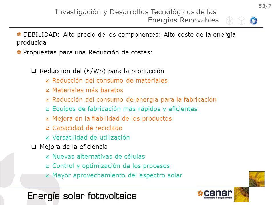 53/7 DEBILIDAD: Alto precio de los componentes: Alto coste de la energía producida Propuestas para una Reducción de costes: Reducción del (/Wp) para l