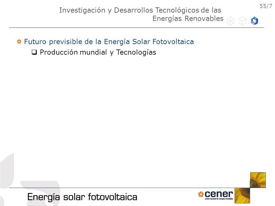 55/7 Futuro previsible de la Energía Solar Fotovoltaica Producción mundial y Tecnologías Investigación y Desarrollos Tecnológicos de las Energías Reno