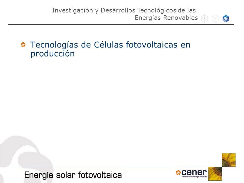 Tecnologías de Células fotovoltaicas en producción Investigación y Desarrollos Tecnológicos de las Energías Renovables