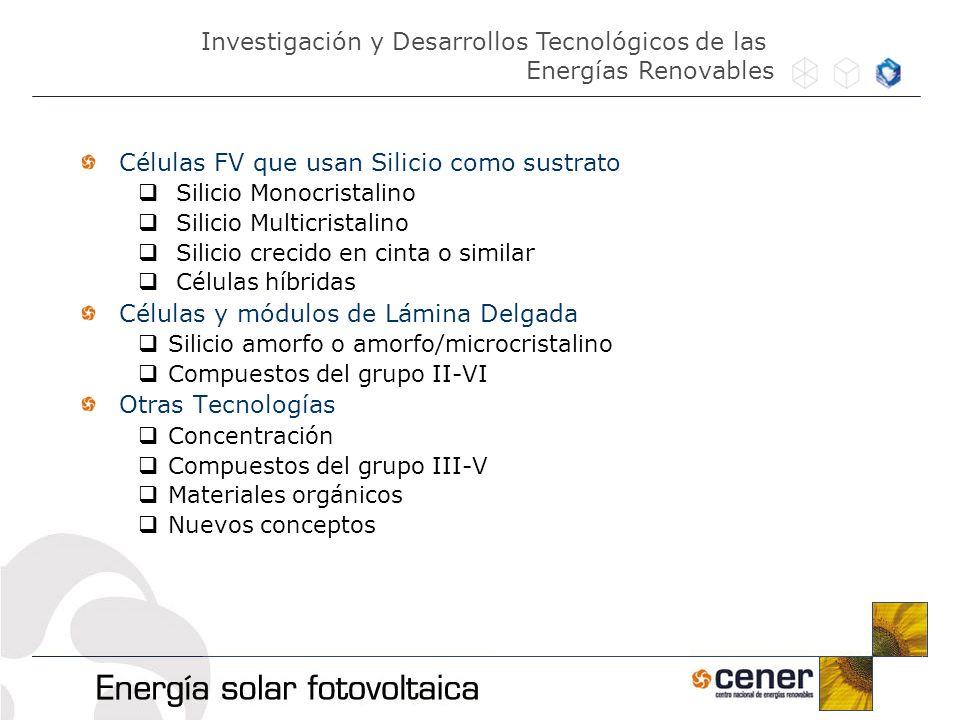Células FV que usan Silicio como sustrato Silicio Monocristalino Silicio Multicristalino Silicio crecido en cinta o similar Células híbridas Células y