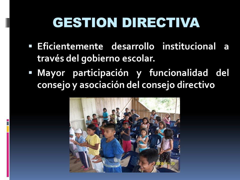GESTION DIRECTIVA Eficientemente desarrollo institucional a través del gobierno escolar. Mayor participación y funcionalidad del consejo y asociación