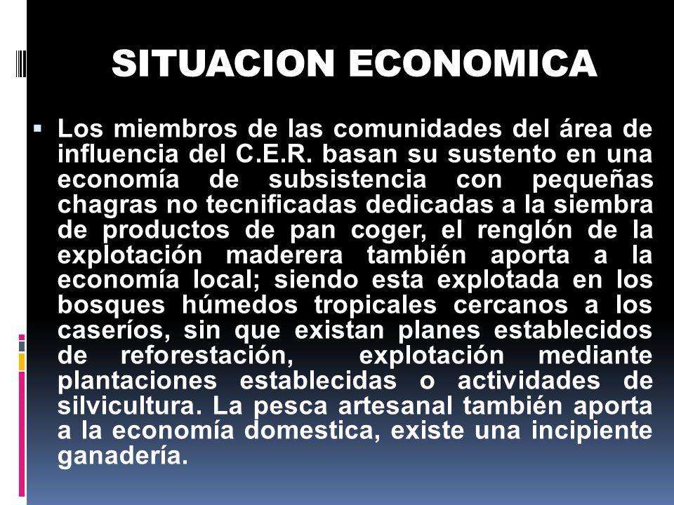 SITUACION ECONOMICA Los miembros de las comunidades del área de influencia del C.E.R. basan su sustento en una economía de subsistencia con pequeñas c