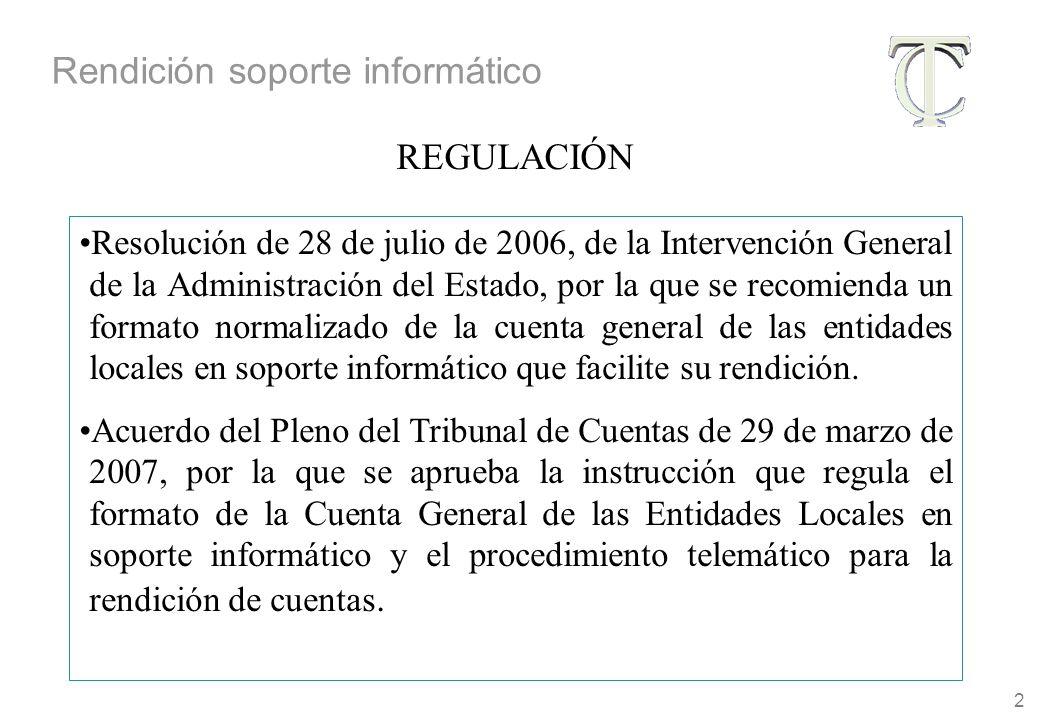 2 Resolución de 28 de julio de 2006, de la Intervención General de la Administración del Estado, por la que se recomienda un formato normalizado de la cuenta general de las entidades locales en soporte informático que facilite su rendición.