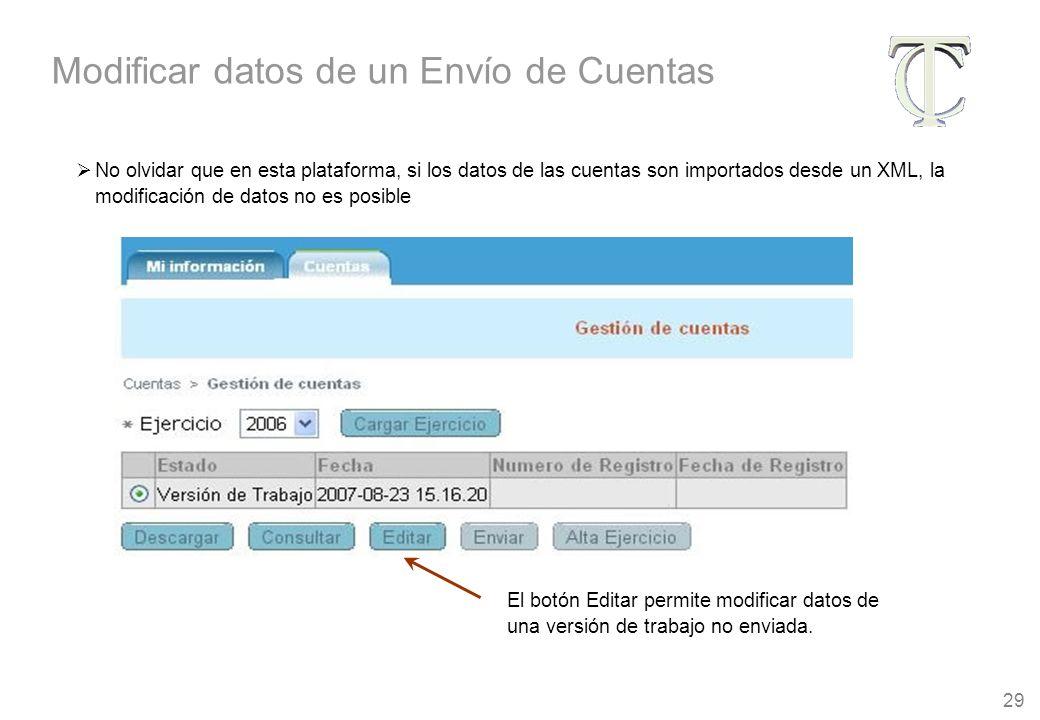 29 El botón Editar permite modificar datos de una versión de trabajo no enviada.