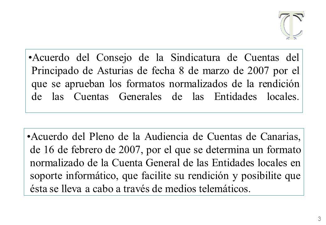 3 Acuerdo del Consejo de la Sindicatura de Cuentas del Principado de Asturias de fecha 8 de marzo de 2007 por el que se aprueban los formatos normalizados de la rendición de las Cuentas Generales de las Entidades locales.