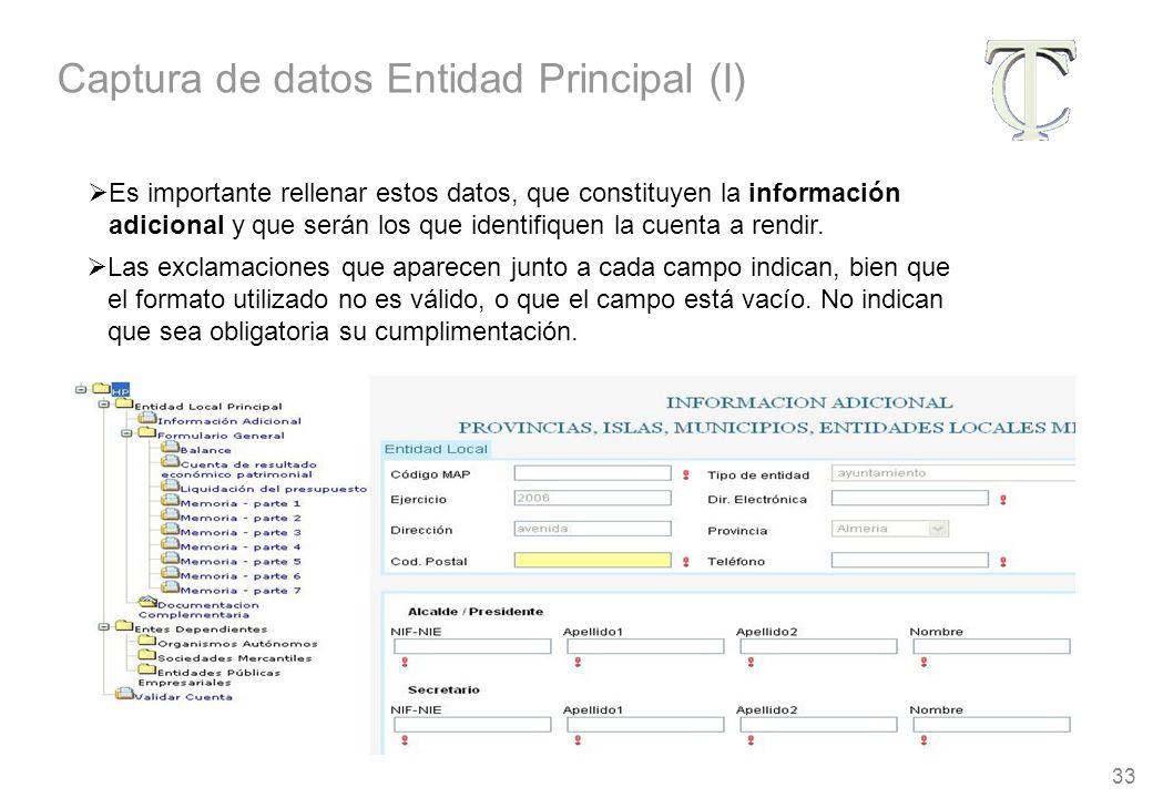 33 Es importante rellenar estos datos, que constituyen la información adicional y que serán los que identifiquen la cuenta a rendir.