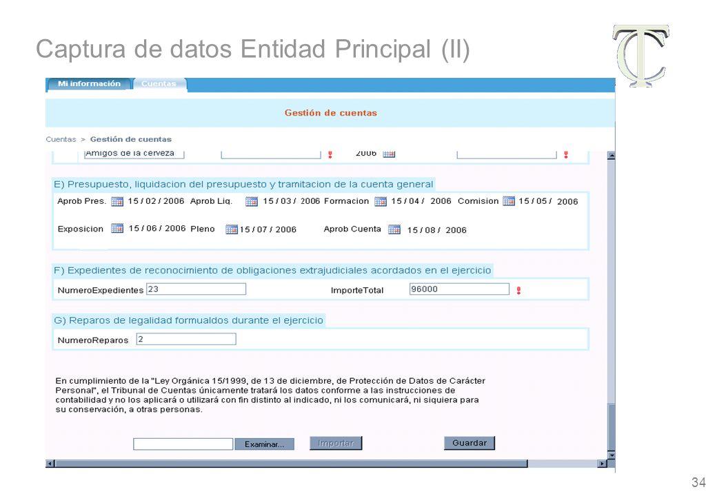 34 Captura de datos Entidad Principal (II)