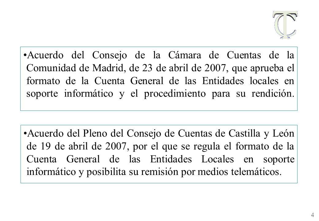 4 Acuerdo del Consejo de la Cámara de Cuentas de la Comunidad de Madrid, de 23 de abril de 2007, que aprueba el formato de la Cuenta General de las Entidades locales en soporte informático y el procedimiento para su rendición.