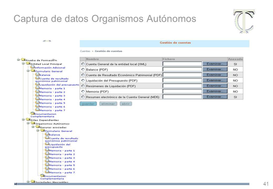 41 Captura de datos Organismos Autónomos