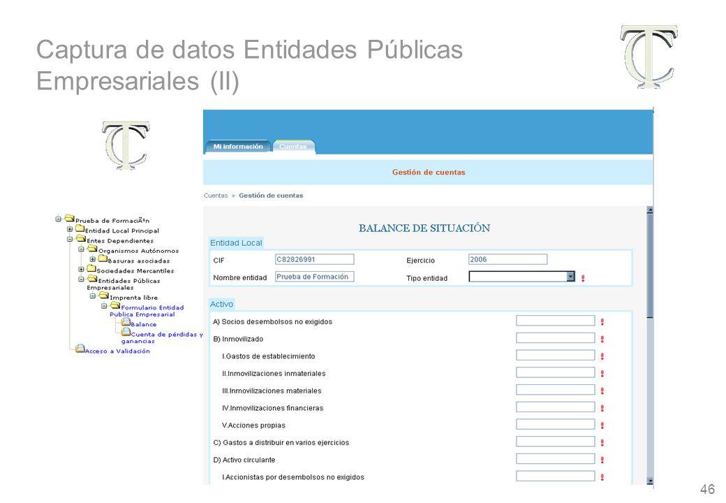46 Captura de datos Entidades Públicas Empresariales (II)