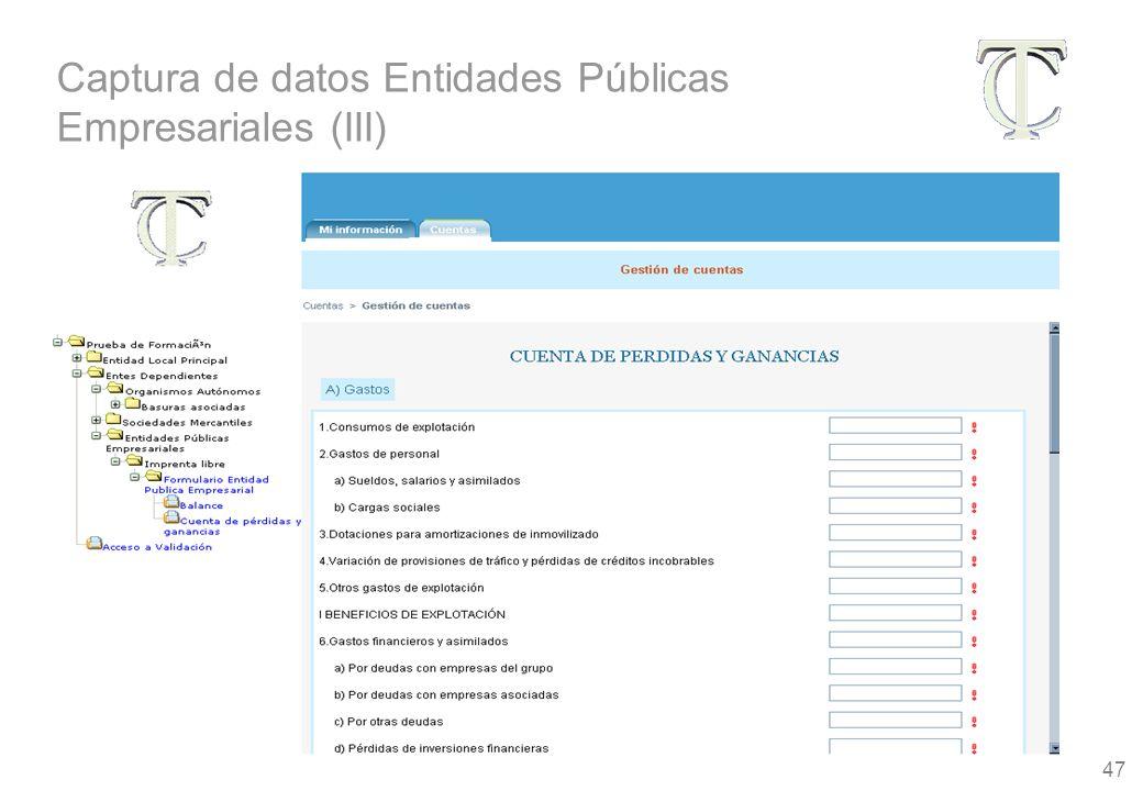47 Captura de datos Entidades Públicas Empresariales (III)